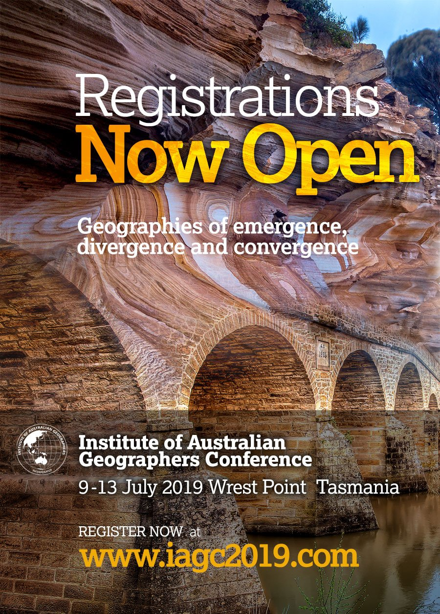 Dear geographers and friends of geography, You can now register for the Institute of Australian Geographers Conference, 'Geographies of Emergence, Divergence, and Convergence', Hobart 9-13 July, 2019. To register go to: https://cdesign.eventsair.com/2019-iag/registration   For up-to-date information about the Conference go to the conference website: http://www.iagc2019.com