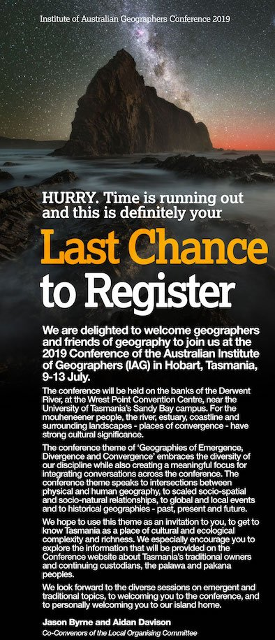 Make sure you've registered for the IAG 2019 Conference in Hobart next week.  Conference details and registration information is available here: http://www.iagc2019.com/home/registration